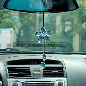 ATMOMO Crystal Flower Car Rear View Mirror Pendant Car Hanging Ornament Lucky Car Accessories (Blue)