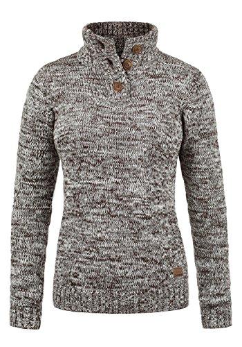DESIRES Philicita Damen Winter Strickpullover Troyer Grobstrick Pullover mit Stehkragen, Größe:L, Farbe:Coffee Bean (5973)