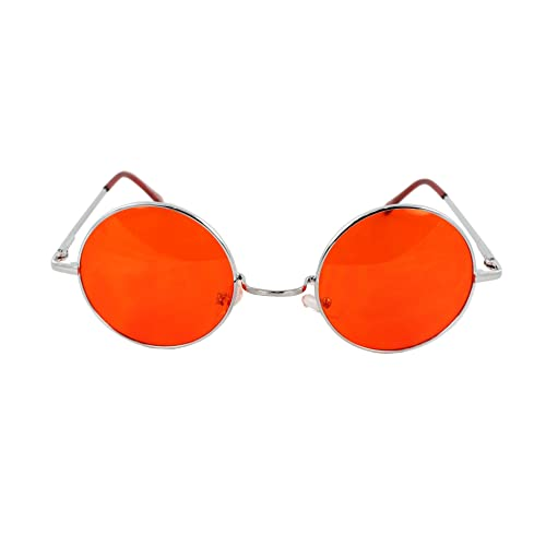0b793af8dde MLC EYEWEAR Vintage Style Round Silver Hippie Party Shades Sunglasses RED  LENS