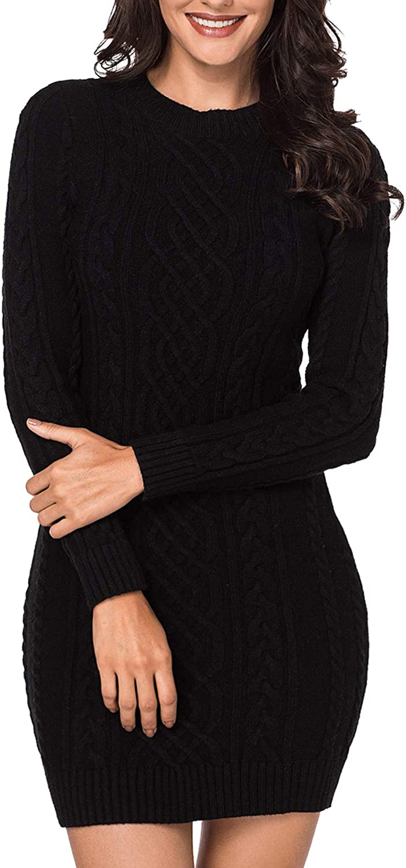 LaSuiveur Women's Slim Fit Cable Knit Long Sleeve Sweater Dress