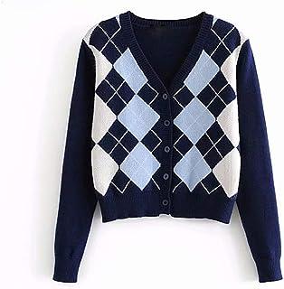 Women Sweater Cardigan Argyle Pattern Long Sleeve England...