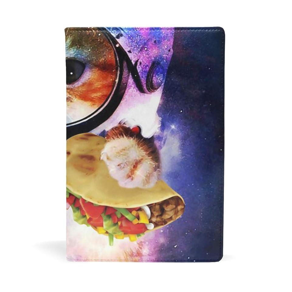 モチーフ黙から聞くお好み焼き持つ猫宇宙飛行士 ブックカバー 文庫 a5 皮革 おしゃれ 文庫本カバー 資料 収納入れ オフィス用品 読書 雑貨 プレゼント耐久性に優れ