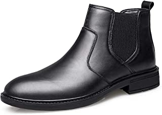 2019 Mens New Lace-up Flats Mens Chelsea Boots for Men Ankle Shoes Pull On Style  Leather Elastic Bands Round Toe Breathable Lined Block Heel (Fleece Inside Option) Soft Black