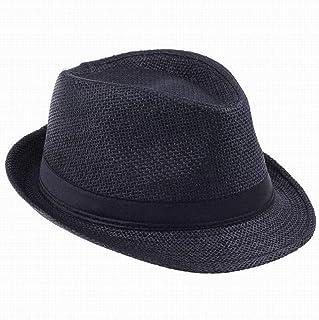 CGXBZA Sombreros de Moda para Mujer Gangster Cap Summer Beach Sun Straw Sombrero de Panamá con Banda Ribbow Sombrero para el Sol