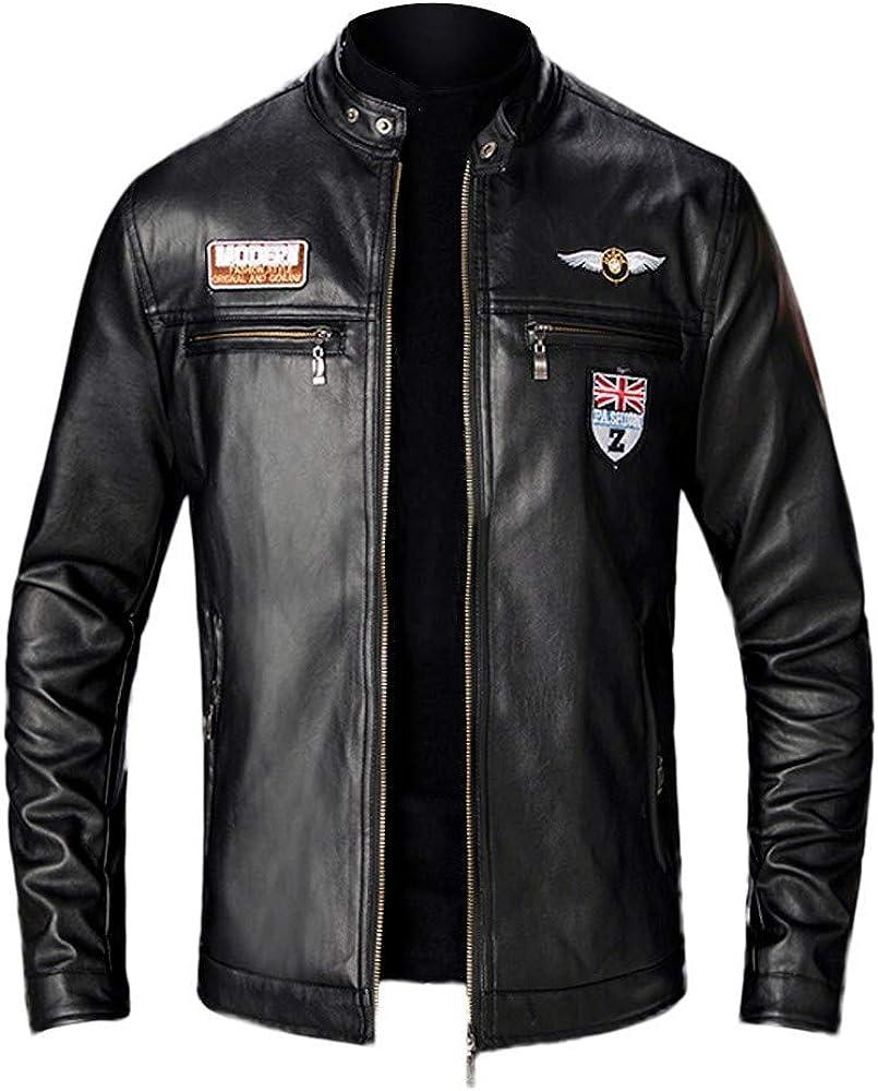 Brand new iCODOD Men's Locomotive Bargain sale Coat PU Solid Zipper Fashion Wint Jacket