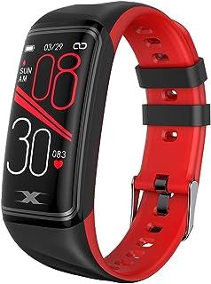 LINGJIA Pulsómetros Pulsera Inteligente Deportes Fitness Tracker Frecuencia Cardíaca Sleep Health Monitor Pantalla Grande Reloj Inteligente/Rojo