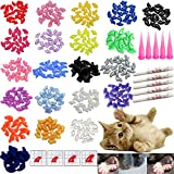 VICTHY 100 PCS Soft Pet Cat Nail Caps Cats Paws...