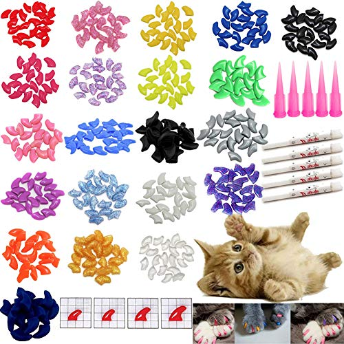 VICTHY 100 PCS Soft Pet Cat Nail Caps Cats Paws Grooming Nail Claws Caps Covers of 5 Kinds 5Pcs...