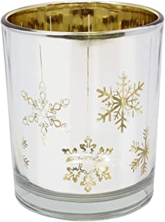 Just Artifacts Christmas Metallic Votive Candle Holder 2.85-Inch - Silver and Gold Snowflakes (Set of 25) - Glass Votive Candle Holders for Weddings and Home Décor