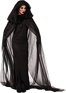 Halloween Women's Black Witch Cosplay Hooded Cloak Cape Outfit Costume Dress