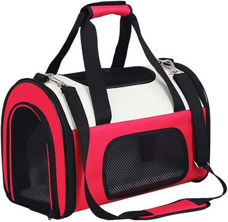 Cat Backpack Pet Dog Backpack MultiFunction Folding Breathable Portable Travel Shoulder Bag Handbag Pink Oxford Cloth