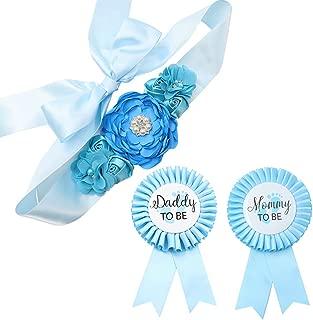 Sky Blue Maternity Sash & Mommy Daddy Corsage Kit - Baby Shower Sash Baby Boy Pregnancy Sash Keepsake Baby Shower Flower Belly Belt