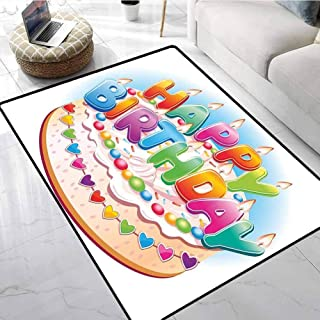Birthday Decorations for Kids Indoor Outdoor Rugs Cartoon Happy Birthday Party Image Cake Candles Hearts Print Bathroom Carpet 48 X 60 Inch