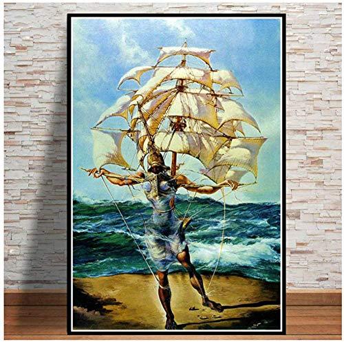 A&D Poster Und Drucke Retro Psychedelische Malerei Salvador Dali Surrealismus Wandkunst Abstrakte Bilder Für Wohnzimmer Wohnkultur-50x70cmx1 stücke-Kein Rahmen