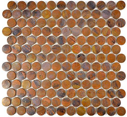 Mosaik Fliese kupfer Knopf braun für WAND BAD WC DUSCHE THEKENVERKLEIDUNG Mosaikmatte Mosaikplatte