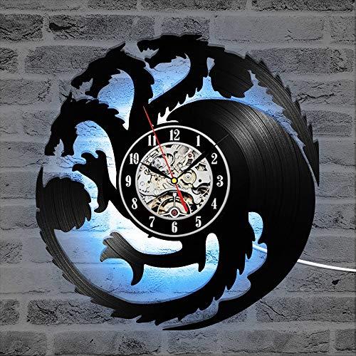 BFMBCHDJ Game of Thrones Thema 3D Rekorduhr Runde Drachenform Hängende LED-Uhr Antike Schwarze Raumdekor Wanduhr