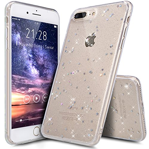 Cover iPhone 7 Plus,Cover iPhone 8 Plus,Cristallo lusso Bling scintillio lucido diamante scintilla Ultra Sottile Trasparente Morbida TPU Silicone Gel Custodia Case per iPhone 7 Plus/8 Plus,Chiaro A