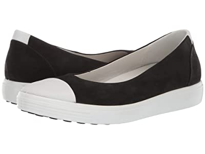 ECCO Soft 7 Ballerina (White/Black Cow Leather/Cow Nubuck) Women