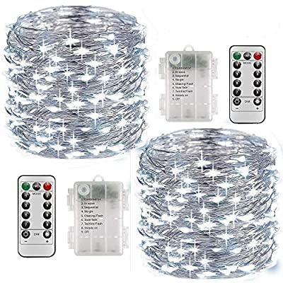 Fairy Lights Battery Operated 2 Pack, 33 Feet 100 LED String Lights with Remote Control, Waterproof Fairy String Lights Decorative Lights for Indoor/Outdoor Christmas Halloween Décor (Cool White)