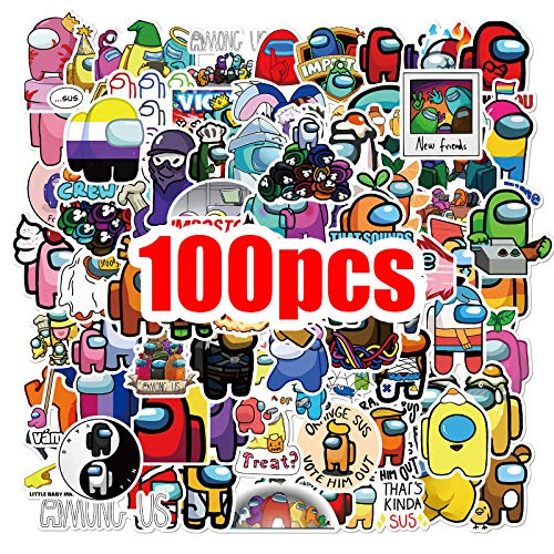 Among Sticker 100 Pcs Among Fandom Crewmate Stickers Not Repeated for Kids Teens Adults DIY Snowboard Laptop Luggage Guitar Fridge Hydro Flasks Graffiti Waterproof Best Kid Toy Cartoon Stickers