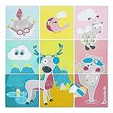 Badabulle B023010 Badepuzzle, 9-teilig, mit lustigen Motiven, haftet an der Badewanne/Dusche, mehrfarbig