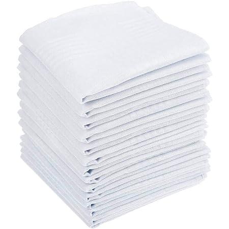 15PCS Mens White Cotton Handkerchiefs Large Pocket Squares Hankies for Men