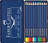 Faber-Castell 114212 - Estuche de metal con 12 ecolápices triangulares acuarelables Art Grip, lápices para adultos
