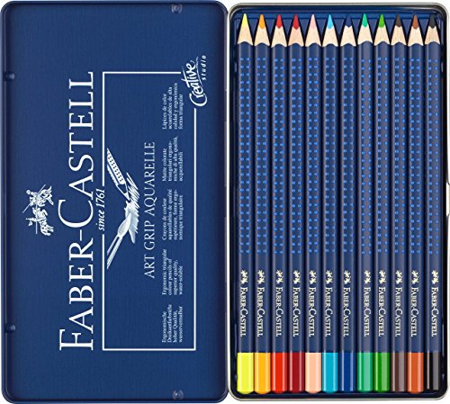 Faber-Castell 114212 - Farbstifte ART GRIP Aquarelle, 12er Metalletui