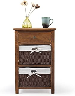 Wooden Nightstand Bedside Table Cabinet Storage Shelf with 2 Wicker Rattan Drawers Brown
