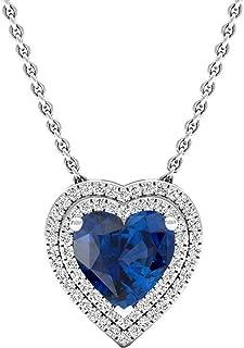 Dazzlingrock Collection 14K 8 MM Heart Lab Created Gemstone & Round Diamond Heart Double Halo Pendant, White Gold