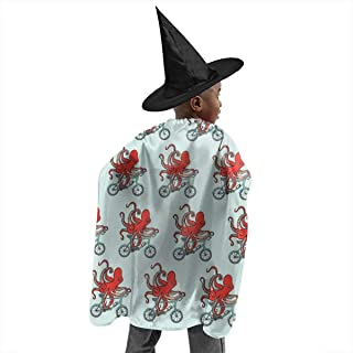 Kids Halloween Christmas Witch Set with Hat Octopus On Bicycle Wizard Cloak with Hats Witch Cosplay Costumes Cape Sets for Children Child Girls Boys Party Costume