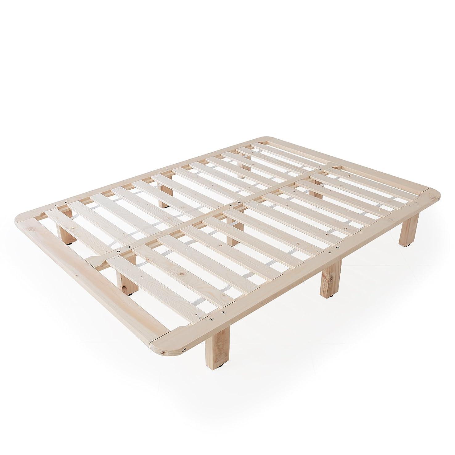 見捨てる一般的に果てしないLOWYA ベッド すのこベッドフレーム 天然木 ハイタイプ ダブル おしゃれ