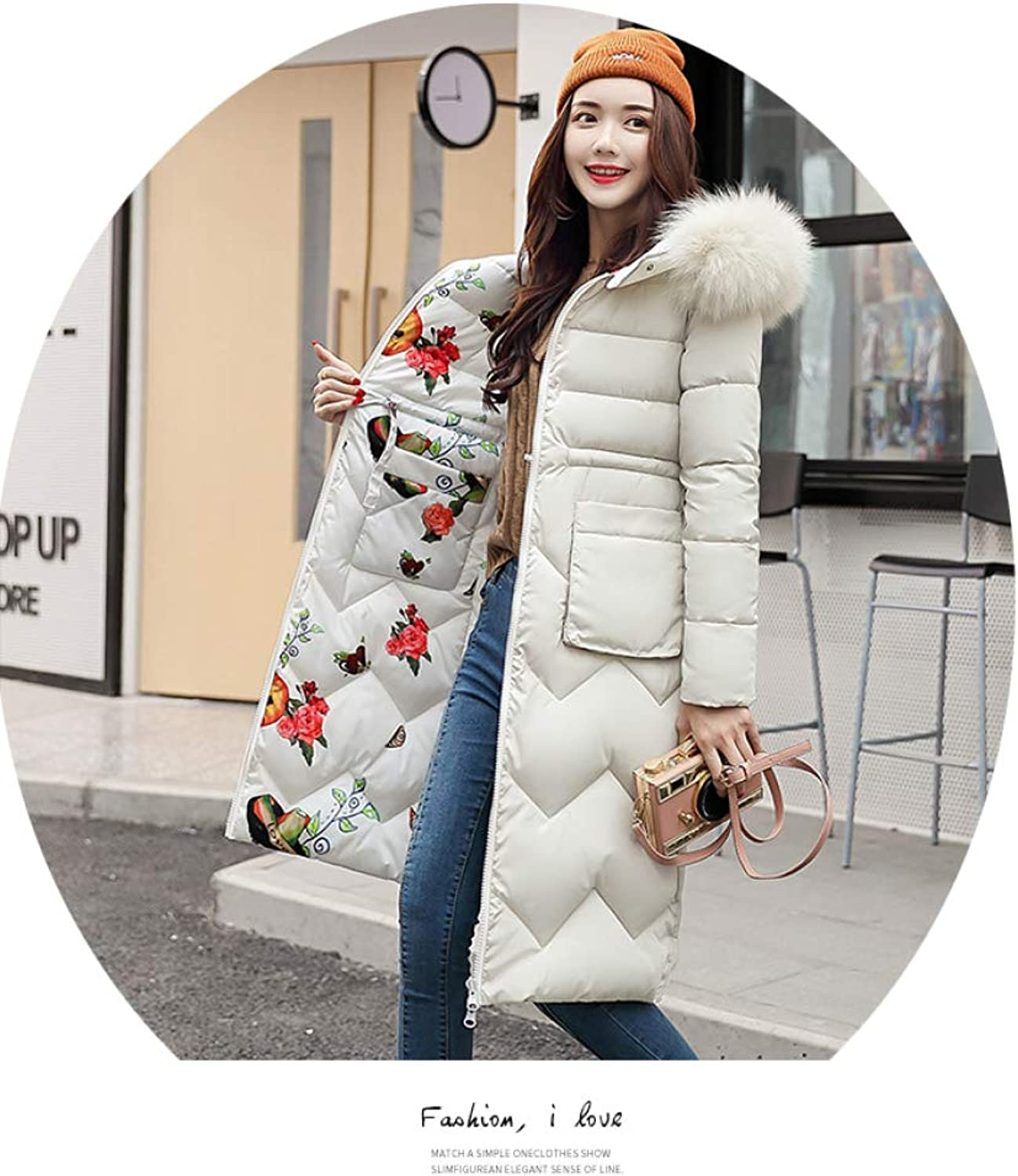 AZW@ down Jacket, Female Long Section Thick Large Collar down Jacket, Coat, Double-Faced down Jacket, Cotton Jacket, Women's Jacket