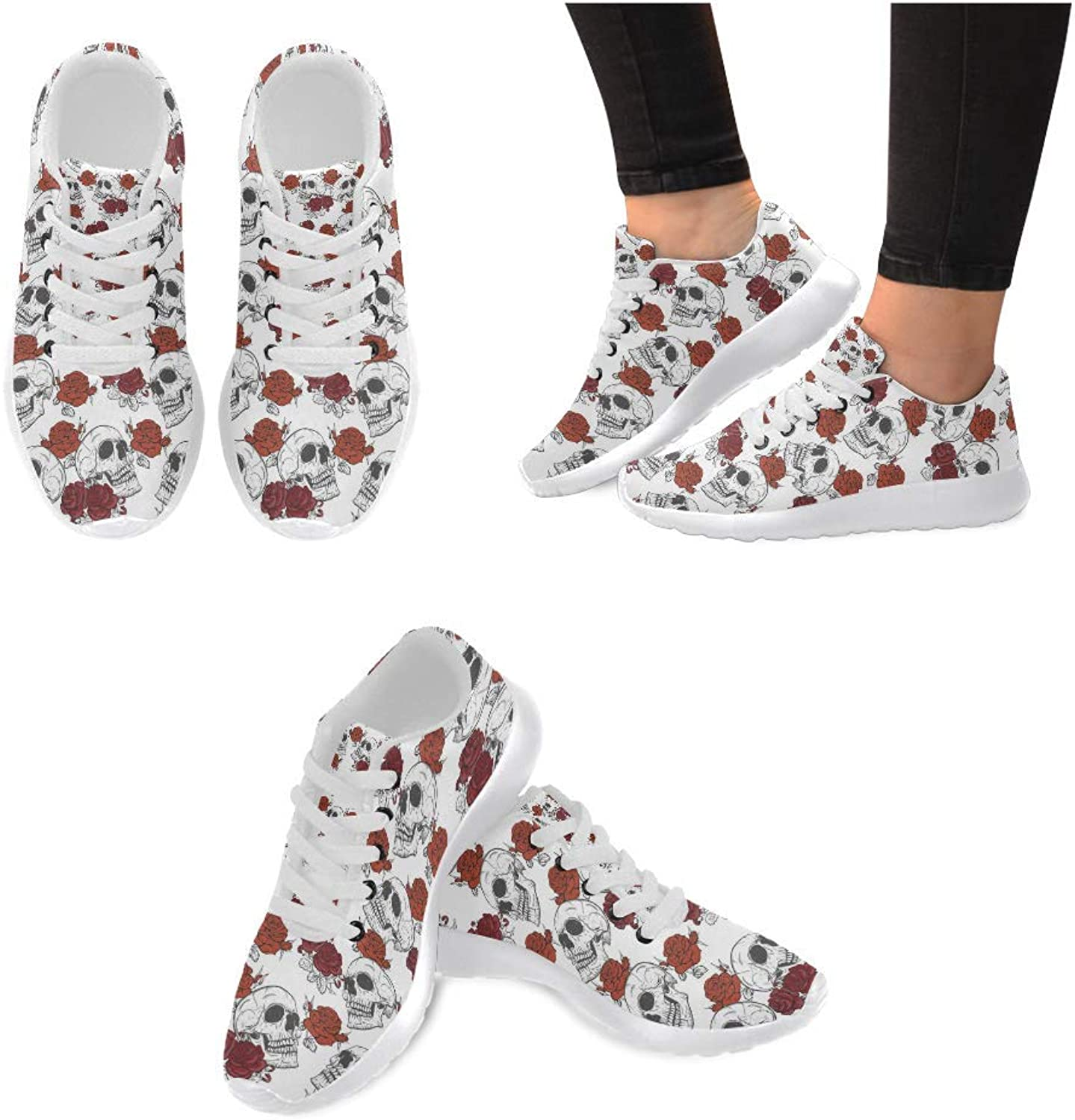 Women Lightweight Casual Sneaker Running shoes pinks and Skull Prints