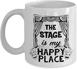 The Stage Is My Happy Place Coffee & Tea Gift Mug For A Performer, Musician, Pianist And Singer
