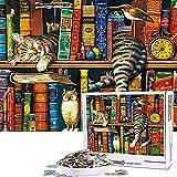 N+A Puzzles para Adultos 1000 Piezas Puzzle Animales Divertidos Puzzle Gato en el Estante Puzzle para Niños Descompresión y Regalo