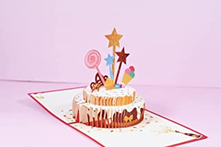 Happy Birthday Cake With Stars and Lollipop Pop Up Greeting Card