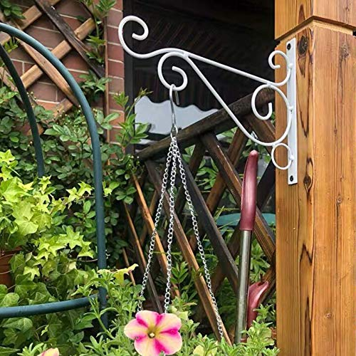 JYKFJ Wall Hanging Brackets 4 Pcs Garden Plant Hanger Hook Metal Wall Bracket for Wood Deck Fence Gazebo Garden Indoor Walls (Bracket Only)