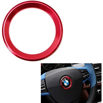 iJDMTOY (1) Sports Red Aluminum Steering Wheel Center Decoration Cover Trim Compatible With BMW 1 2 3 4 5 6 Series X4 X5 X6 (F20 F21 F22 F23 F30 F31 F32 F33 F35 F36 F10 F11 F12 F13 F26 F15 F16)