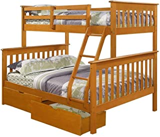 DONCO KIDS Mission Bunk Bed Honey/Twin/Full/W/Dual Under Bed Drawers