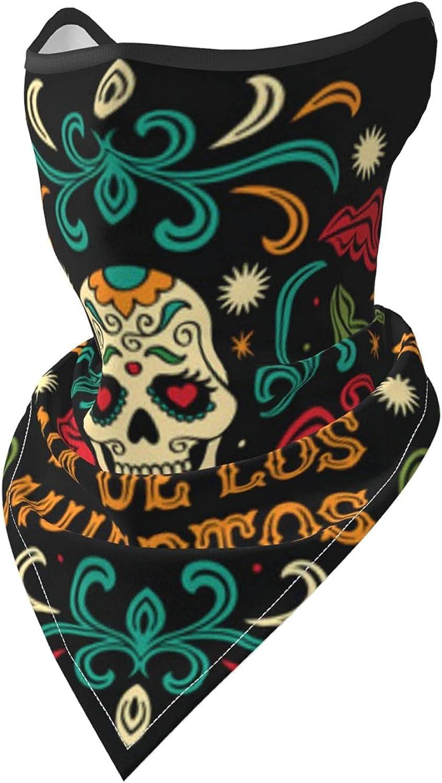 Dia de los Muertos Sugar Skull Breathable Bandana Face Mask Neck Gaiter Windproof Sports Mask Scarf Headwear for Men Women Outdoor Hiking Cycling Running Motorcycling