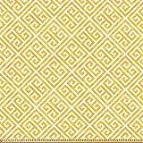 ABAKUHAUS Greek Key Stoff als Meterware, Gelbes und weißes