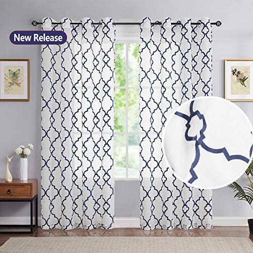 """Moroccan Embroidery Sheer Window Curtains 95-inch Blue White Lattice Embroidered Linen Textured Drapes Guest Bedroom Light Filtering & Privacy Grommet Curtain Set of 2 Panels for Studio Office 52"""" W"""