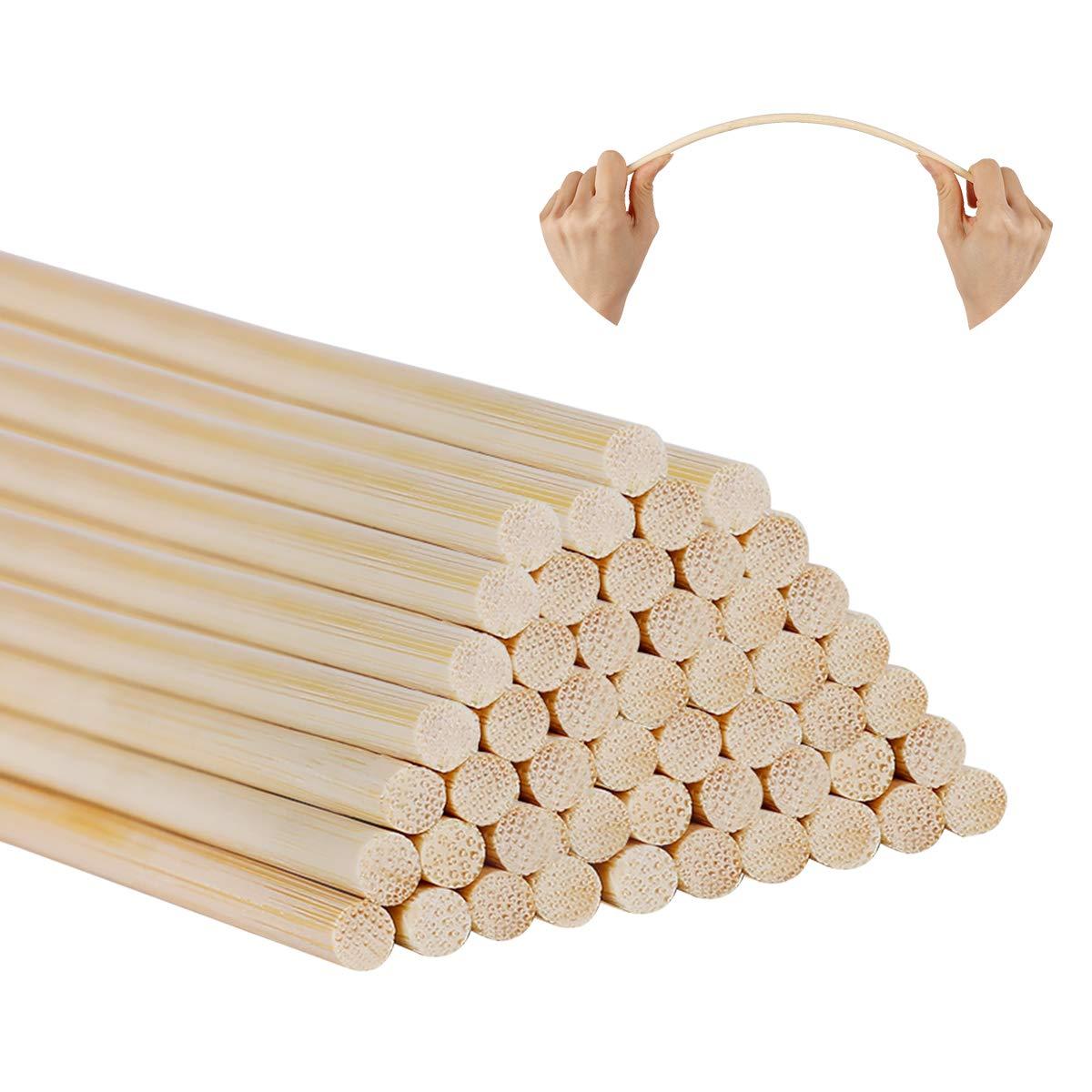 Woodcraft Sticks,Aieve 50 Pack 12 Inch Long Bamboo Dowel Rods Craft Sticks for