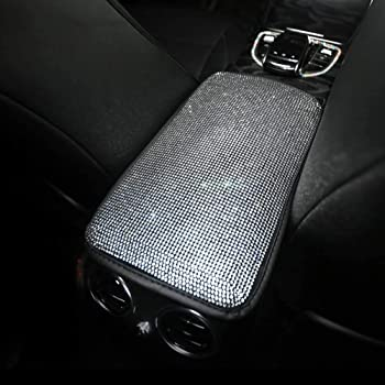 FSD Universal Bling Bling Car Center Console Cover Luster Crystal Arm Rest Padding Protective Case Diamond Car Decor Accessories for Women