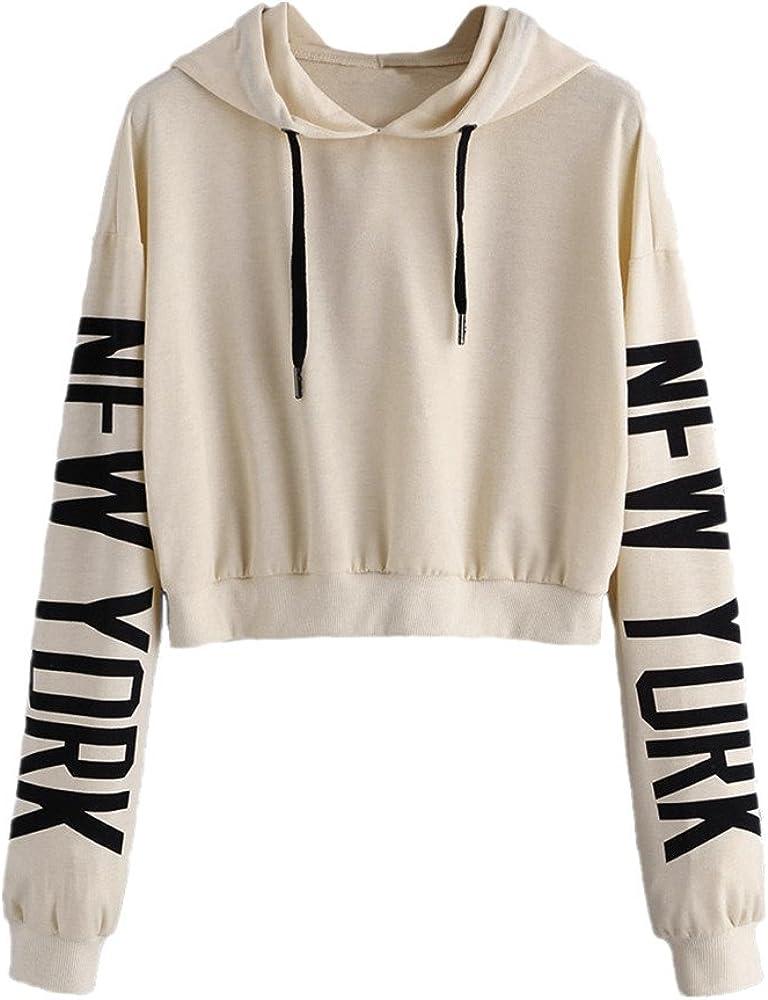 Womens Letters Long Sleeve Blouse Hoodie Sweatshirt Pullover Tops by Topunder Beige