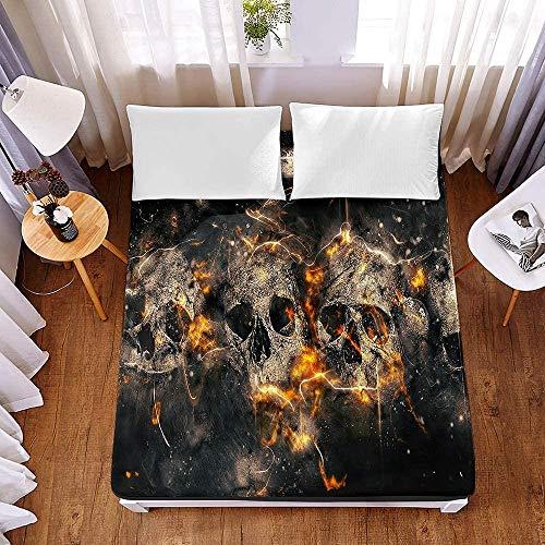 Edredón Ajustable Queens,,Protector de colchón de microfibra suave y grueso con sábana ajustable, patrón de calavera negra, patrón punk, sábana elástica 3D, resistente-El 150x200x30cm_2