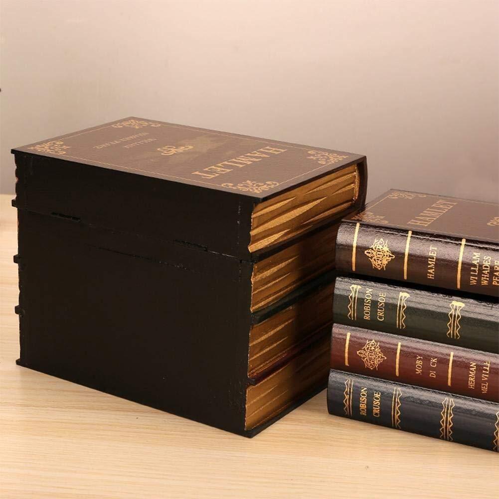 Lcjtaifu Libro Secreto Caja Fuerte de Madera Libro Antiguo Biblioteca Decorativa clásica Caja de Memoria de Joyas Gran Capacidad (Color : S): Amazon.es: Hogar
