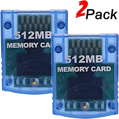 Mekela 2 Packs Memory Card 512MB (8192 Blocks) for Nintendo Wii Gamecube NGC GC (Blue and Blue)