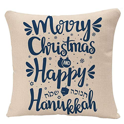YGGQF Throw Pillow Covers Festival Hand Written Lettering with Text Happy Hanukkah and Merry Christmas Hanuka Pillow Case 18x18 Inch Square Cushion Cover Pillowcase